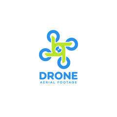 Set of drone and quadrocopter logo isolated on white background. Set of drone service and accessories labels, badges and design elements. Drone aerial footage. Vector Illustration