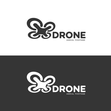 Set of drone and quadrocopter logo isolated on white and black background. Set of drone service and accessories labels, badges and design elements. Vector Illustration