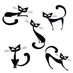 Set cute black cats,isolated on white background