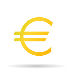 Golden euro icon the exact sizes with shadow on a white background, stylish vector illustration