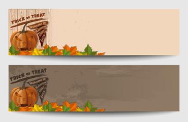 Halloween banner set. Halloween design with Jack-o'-lantern. Happy Halloween. Trick or treat. Vector illustration
