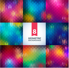 Abstract geometric background illustration. Spectrum retro  pattern set