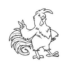 Cartoon rooster. Symbol of 2017.