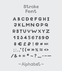Alphabet. English Sloppy Fat Stroke Font Letters. Capital .