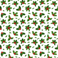 Christmas berry decoration seamless pattern