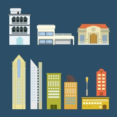 City landscape. cityscape, modern city with vector flat illustration. Summer background design.