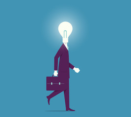Creative Mind. Business man with light bulb head concept.