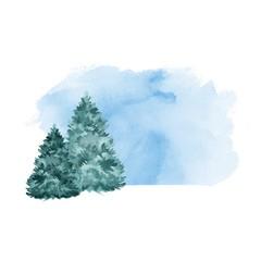 Green fir tree. Winter background. Watercolor landscape 2