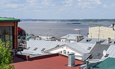 Views of the river Volga from the roofs of Nizhny Novgorod. Russia