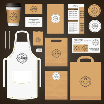 Coffee house corporate identity template design set with coffee shop logo and cup of coffee. Restaurant cafe set card, flyer, menu, package, uniform design set. Vector Illustration
