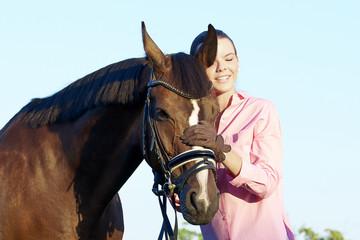 She loves her bay horse