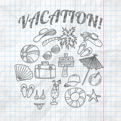 Vintage hand drawn doodle vacation vector illustration on crumpled paper background.
