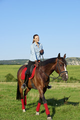 Enjoying horseback riding in nature