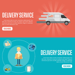 Smiling delivery boy with cardboard box on blue background. White delivery truck on red background. Delivery service website templates, vector illustration. Shipping and moving. Courier service.