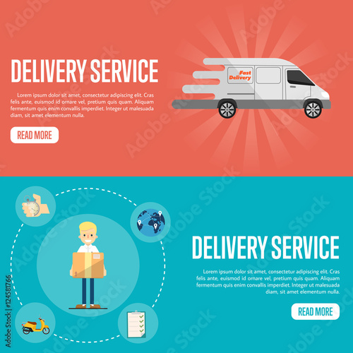 Smiling Delivery Boy With Cardboard Box On Blue Background White Truck Red Service Website Templates Vector Ilration