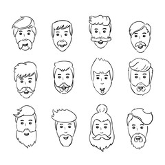 Hairstyles beard and hair face cut young man doodle cartoon collection. Vector male sketchy illustration. Modern hairstyles icons,