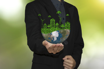business hand holding global world environment. let's save the world ecology concept.