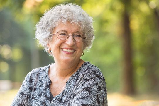 Carefree elderly woman