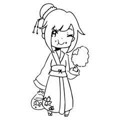 illustration vector hand drawn doodle of girl wearing traditional japanese clothing