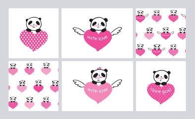 Set of Greeting cards and seamless patterns with cute pandas and hearts. Wrapping paper for Valentine's Day, Mother's Day, birthday, wedding. Hand drawn pandas. Doodles, sketch. Vector.