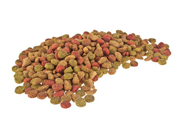 Dry cat food isolated on white background