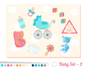 Vector set of baby toys and objects in flat design style