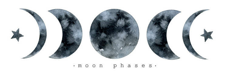 Moon various phases. Trendy watercolor illustration isolated on white background Wall mural