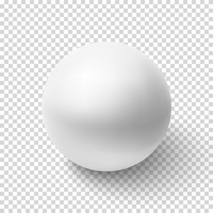 Realistic white sphere isolated on transparent background.