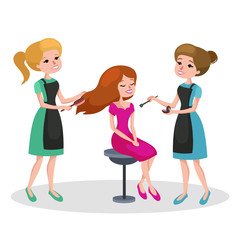 beautiful woman in beauty salon Vector illustration. Beauty salon interior vector concept . Haircut, manicure and make up atelier