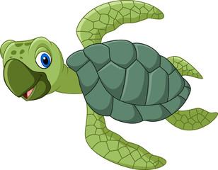 Aluminium Prints Submarine Cute turtle cartoon