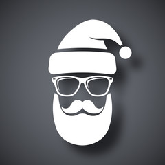 Silhouette of Santa Claus with a cool beard, mustache and glasse