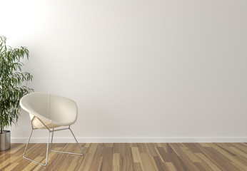 Solo white chair, interior plant and blank wall in background
