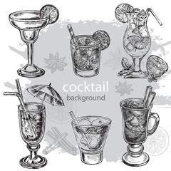 hand drawn sketch illustration cocteils collection