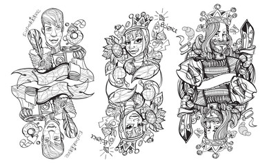 Black and white sketch of the characters.