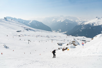 Ski run slope downhill wide broad mountain snow