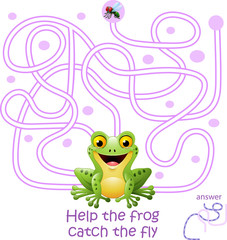 Card with maze game, help the frog catch the fly