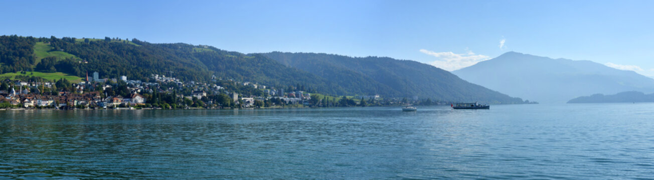 Panorama with lake and the town Zug and mount Rigi in Switzerland