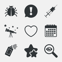 Bug and vaccine signs. Heart, spray can icons.
