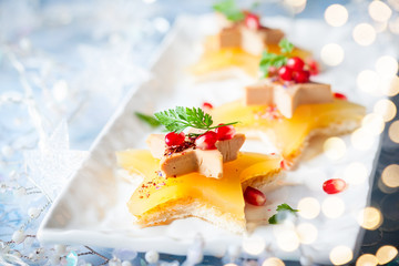 Foie gras on star-shaped toasts