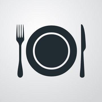 Icono plano plato y cubiertos sobre fondo degradado gris