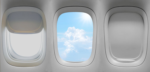 group of the airplane windows