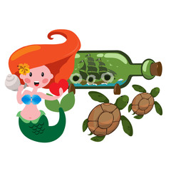 Mermaid, sea turtles and ship in a bottle. Marine theme Graphics.
