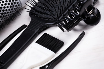 Black and white hair styling tools.