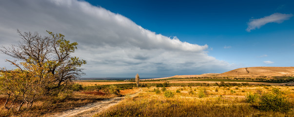 Panoramic view of the vineyards of Koktebel, Crimea