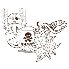 Octopus, dice, a bomb and a sword. Graphics Pirate theme.