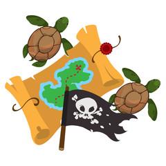 Treasure map, pirate flag, sea turtles. Graphics Pirate theme.