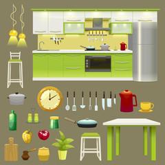 Modern Kitchen Interior Icon Set