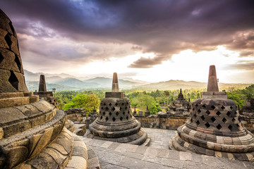 sundown at borobudur temple, indonesia