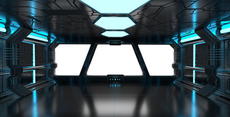 Wall Mural - Spaceship blue interior with empty window 3D rendering elements
