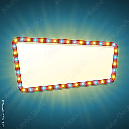 quotblank 3d retro light banner with shining bulbs red sign